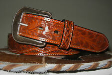3D LEATHER  WESTERN TOOLED MENS BELT OVERLAY 1+ INCH FLORAL BASKETWEAVE SIZE 32