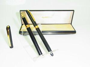 NEW German GOLDRING Pen Set Black Matte Ballpoint Pen & Rollerball Box