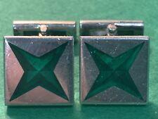 Asprey London Sterling Silver Cufflinks w/ (4) Pt Malachite Star