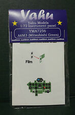 YAHU MODELS 1:72,PE instrument panels A6M3 Mitsubishi Green for Airfix, YMA7256
