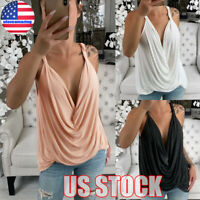 Women Summer Strappy Vest Top Sleeveless Shirt Blouse Casual Loose Tank Tops Tee