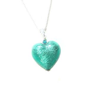 Murano Glass Sea Green Heart Pendant By JKC Murano