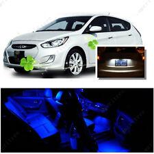 For Hyundai Accent 2012-16 Blue LED Interior Kit + Xenon White License Light LED