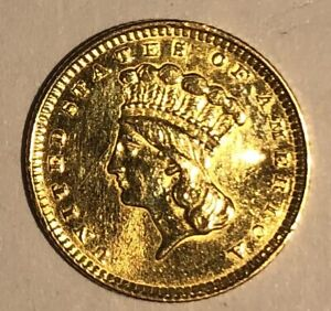 1857 Type 3 Gold Dollar $1 T3 US Coin - 50888R8