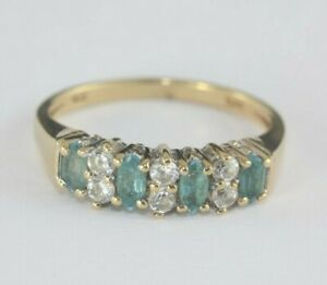 9ct Gold Blue And White Stone Eternity Ring 2.1g Size H 1/2