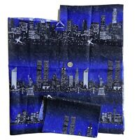 Vintage 1998 City Skylines, New York City Twin Towers Cotton Fabric Pieces