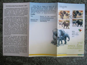 India - 2011  Elephants - stamps + first day cancel on Brochure