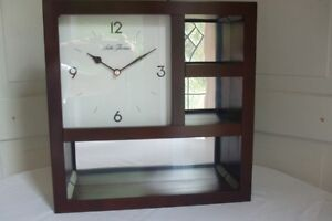 Seth Thomas Wall Clock Cherry Wood Finish Mirrored Back Panel Hanging Curio