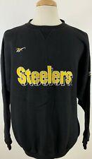 Vintage Reebok Men's Crewneck Sweater Pittsburgh Steelers Embroidered XL Black