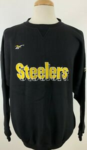 Vintage Reebok Men's Crewneck Sweater Pittsburgh Steelers Embroidered XL Black