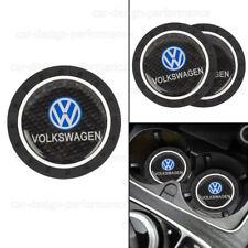 2PCS Silicone Carbon Fiber Car Cup Holder Pad Mat For Volkswagen Anti-Slip