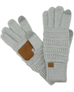 C.C Gloves Unisex Cable Knit Winter Warm Anti-Slip Touchscreen Texting CC Gloves