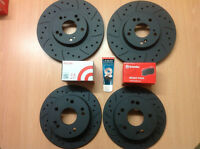 Civic Type R EP3 Front Rear Grooved MTEC Black Brake Discs & Brembo Pads & Lube