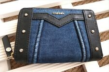 DIESEL Denim Indigo Stitch ZIPPED PURSE / WALLET Studs Notes Cards Coins NEW