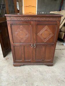 Ornate Dark Wood TV Hifi Cabinet Cupboard Sliding Shelf