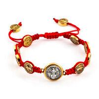 Red Saint St Benedict Gold Medal Bracelet Adjustable Pulsera Roja De San Benito