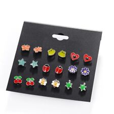 9 Pairs/lot Cute kids Fashion Small Animal Fox Butterfly Stud Earrings Sets