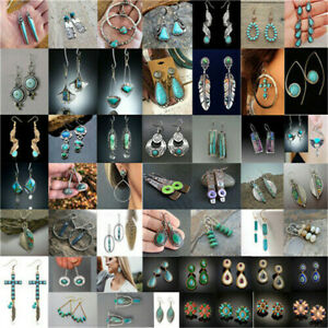 Retro 925 Silver Dangle Drop Earrings Ear Hook Turquoise Women Fashion Jewelry