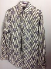 Authentic Paul Smith London Shirt In Black/white Stripes & Floral Detail. UK M