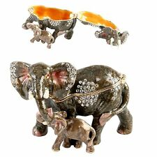 ELEPHANT + BABY with Crystals Trinket Box / Ornament Gift NEW