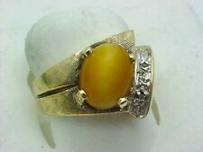 VINTAGE DIAMOND & CATS EYE UNISEX SOLID GOLD RING FLORENTINE