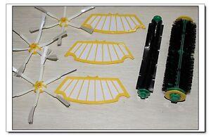 3 Side Brush 6 arm + 3 Filter Kit + beater brush complete pack for Roomba