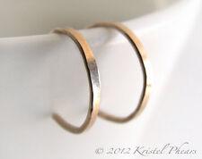 "RESERVED - 2 pairs reverse hoop earrings 1"" in gold-filled & sterling silver"