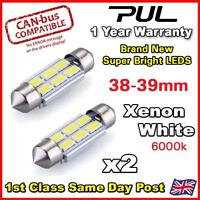 2x White 6 NEW Half Round 5630 SMD LED ERROR FREE CANBUS 239 272 C5W 39mm