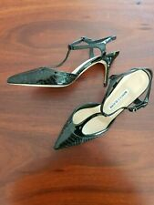 MANOLO BLAHNIK BLACK STRAPPY HEELED SHOES 37.5