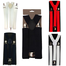 Mens Braces Elastic Suspenders Heavy Duty Metal Clip Y-Style, 25mm Wide