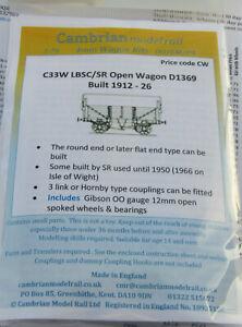 CAMBRIAN C33W LBSC SR D1369 5 PLANK OPEN WAGON   NEW OO GAUGE