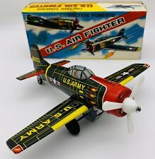 Vintage KA Japan Tin Friction Powered US Army Air Force Fighter Green W/box