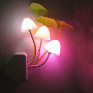 Night Light Light Sensor 3 LED Mushroom Lamp AC110V 220V Night Lights Baby Bulbs