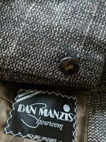 VTG 48R Tooth Check Plaid Blue Brown Nubby Wool Tweed Blazer Sport Coat Jacket