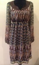 Liz Lange Maternity Target Dress CHIFFON LINED Brown Blue BOHO Striped S M