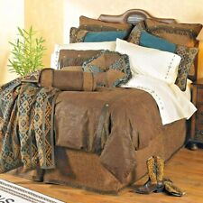 Luxury Designer Del Rio Tooled Faux Leather Comforter Set, King, Blue Brown 5pc