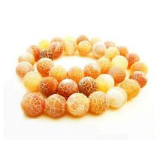 Frosted Cracked Agate Round Beads 10mm Orange 6 Pcs Gemstones Jewellery Making