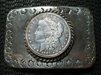 AUTHENTIC 1901 MORGAN SILVER COIN HAND MADE BELT BUCKLE! VINTAGE! DOUBLE EAGLE!