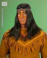 Long Black Red Indian Wig With Headband Tribal Warrior Fancy Dress