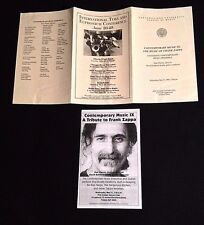 1995 THE MUSIC OF FRANK ZAPPA MUSIC NORTHWESTERN UNIVERSITY, ILLINOIS PROGRAM