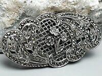4,5 cm große Jugendstil Brosche 925 Silber punz. Vergissmeinnicht & Markasiten