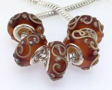5PCS Silver Murano Lampwork Glass Beads fit European Charm Bracelet IL127