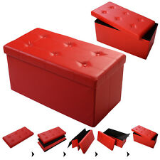 "30""x15""x15"" Large Folding Storage Faux Leather Ottoman Pouffe Box Stool Red"