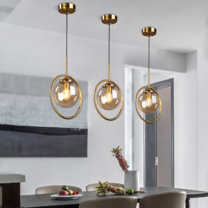 Vintage Loft Gold Brass Round Ring Ceiling Pendant Lights with Single Glass Ball