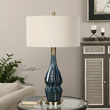 "NEW 32"" DEEP BLUE GLAZE CERAMIC TABLE LAMP BRUSHED AGED BRASS DETAIL LINEN SHADE"