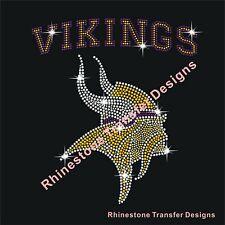 "Rhinestone Transfer ""Vikings Football "" New Hotfix , Iron On, Bling"