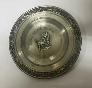 Antique Pewter Collectible Wall Hanging Decor Engraved Lion Vintage Ashtray