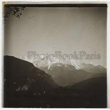 Mont Blanc vu de Servoz Plaque de verre stereo Positif Vintage
