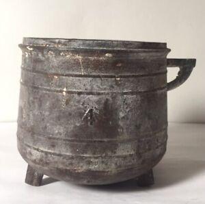 Chaudron En Fonte Ancien Tripode- Petit Chaudron Fonte - Chaudron Cache Pot Déco