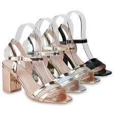 Damen Sandaletten Riemchensandaletten Metallic Glitzer Party Heels 833686 Schuhe